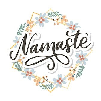 Hand drawn namaste card. hello in hindi. ink illustration. hand drawn lettering background. isolated on white background. positive quote. modern brush calligraphy.