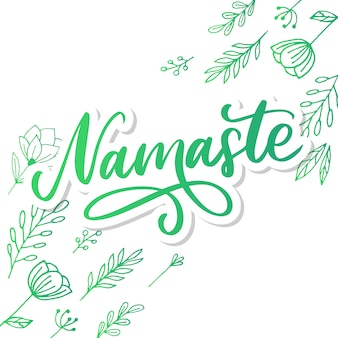 手描きのナマステカード。ヒンディー語でこんにちは。インクのイラスト。手描きのレタリングの背景。白い背景の上。肯定的な引用。モダンなブラシ書道。