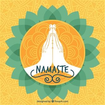 Hand drawn namaste golden greeting background