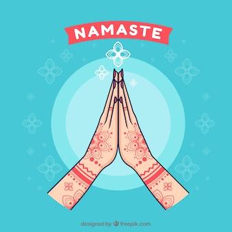 Hand drawn namaste greeting background