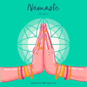 Hand drawn namaste greeting green background