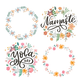Hand drawn namaste and yoga day lettering set.floral wreath set