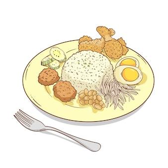 皿に手描きのナシレマッ