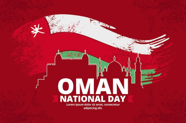 Giornata nazionale dell'oman disegnata a mano sullo sfondo