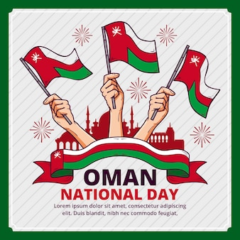 Illustrazione disegnata a mano della giornata nazionale dell'oman