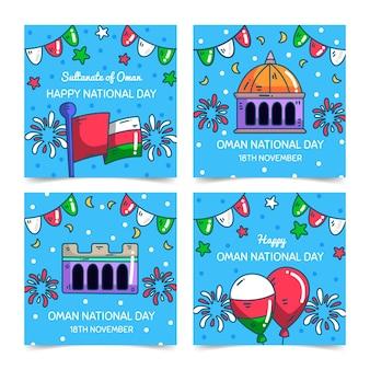 Giornata nazionale disegnata a mano della raccolta di post di instagram dell'oman