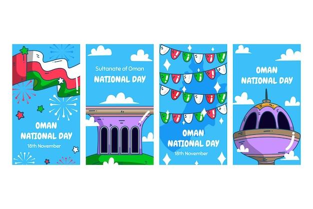 Giornata nazionale disegnata a mano della raccolta di storie di instagram dell'oman