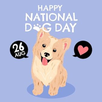 Hand drawn national dog day illustration