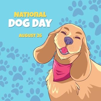 Нарисованная рукой иллюстрация национального дня собаки
