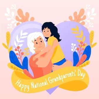 手描きの孫娘と祖父母の日の背景