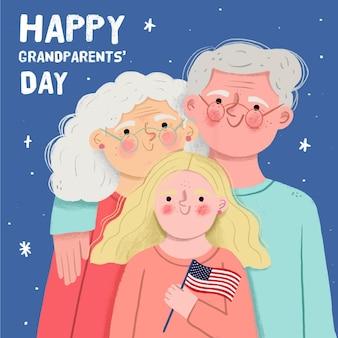 손녀와 손으로 그린 국가 조부모의 날 배경