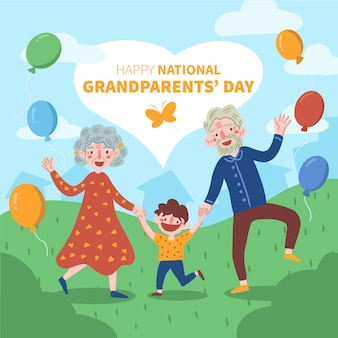 Hand drawn national grandparents day concept