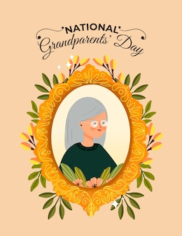 Hand drawn national grandparents' day frame with grandma
