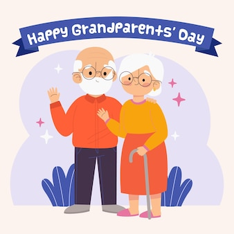 Hand drawn national grandparents day illustration