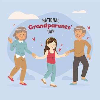 Hand drawn national grandparents' day with granddaughter