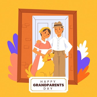 Hand drawn national grandparents' day with photograph frame