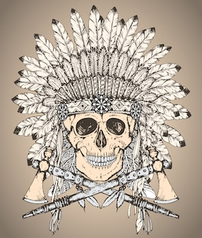 Hand drawn native american indian headdress with human skull and two tomahawks