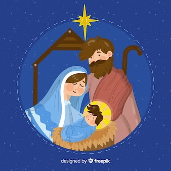 Hand drawn nativity background