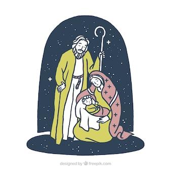 Hand drawn nativity scene background