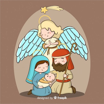 Hand drawn nativity scene background