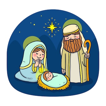 Hand drawn nativity scene concept