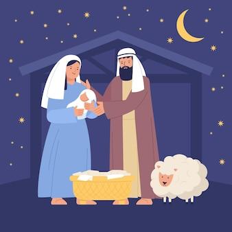 手描きのキリスト降誕のシーンのイラスト
