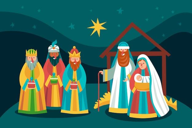 Hand drawn nativity scene illustration