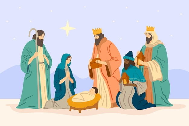 Hand drawn nativity scene illustration