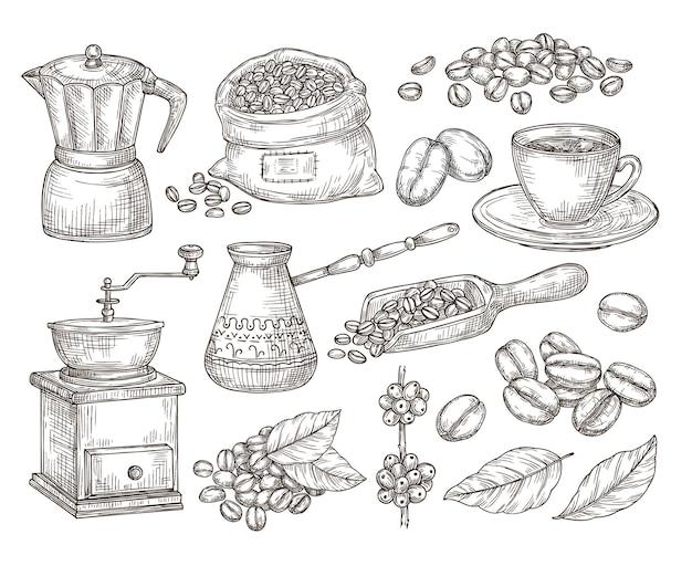 손으로 그린 천연 커피. 그래픽 콩, 스케치 미식가 아침 음료. 에스프레소 머신, 고립된 빈티지 로스트 시드 백 벡터 세트. 커피 아침, 카페인 아침 식사 음료 일러스트