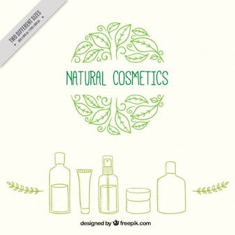 Hand drawn natural cosmetic products background Vector