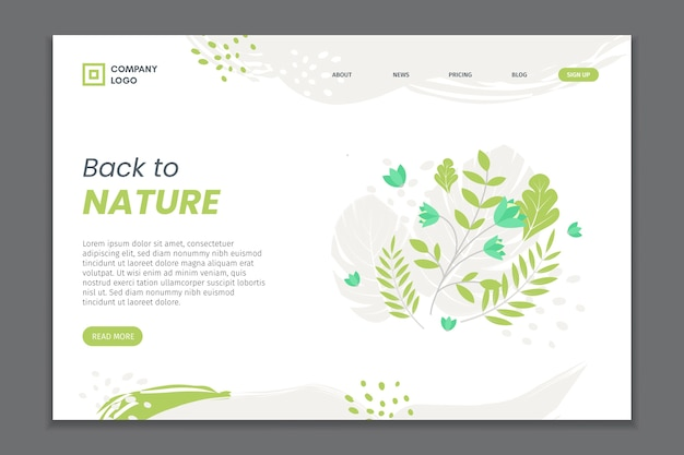 Hand drawn natural foliage landing page