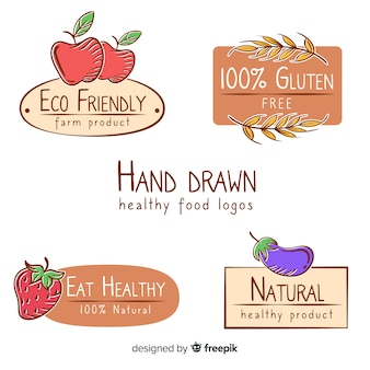 Hand drawn natural food label collection