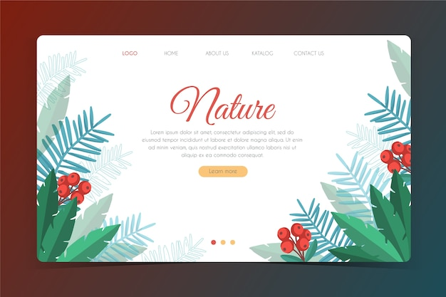 Hand drawn natural landing page template