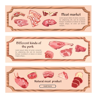 Hand drawn natural meat horizontal banners