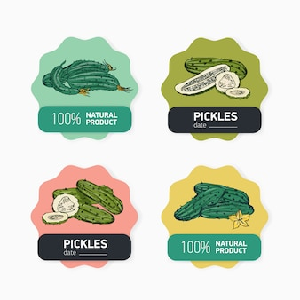 Hand drawn natural organic vegetables labels