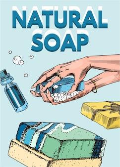 Hand drawn natural soap poster