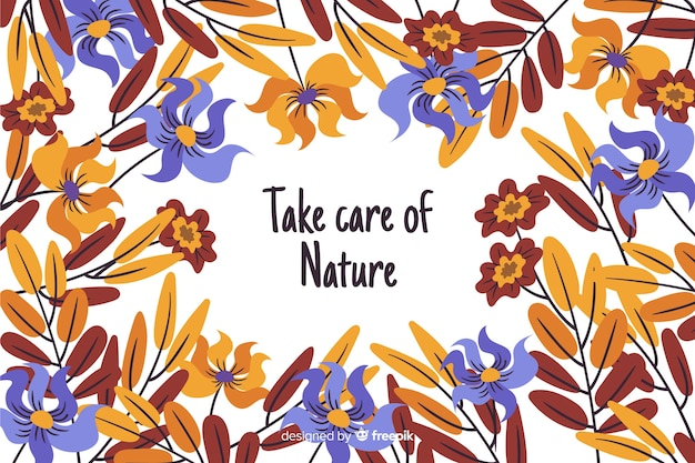 Hand drawn nature background with quote