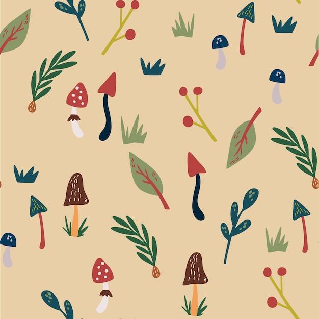 手描きの自然要素のシームレスなパターン。森のアイテム、キノコ、小枝、草、円錐形。スカンジナビアスタイルの森林植物。漫画の植物包装紙のプリントデザイン