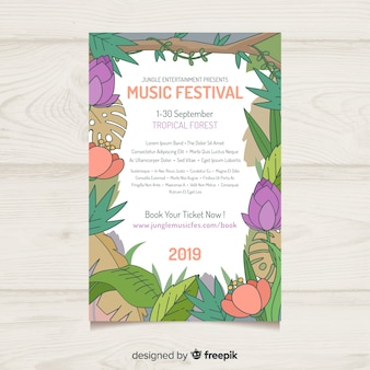Hand drawn nature frame music festival poster