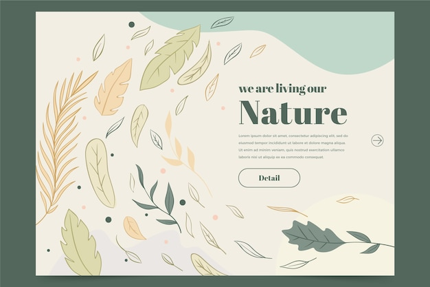 Hand drawn nature landing page template