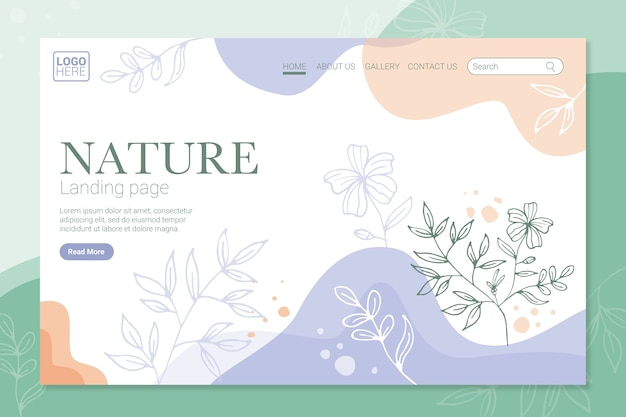 Hand drawn nature landing page