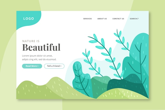 Hand-drawn nature landing page