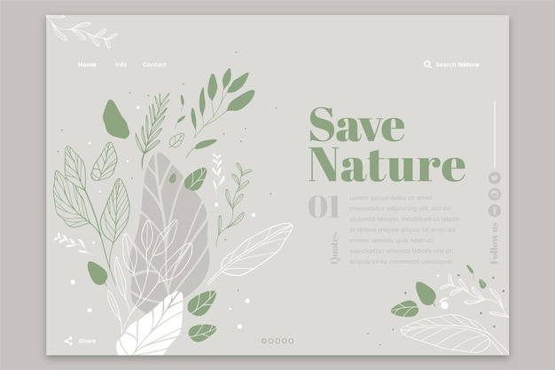 Hand drawn nature template landing page