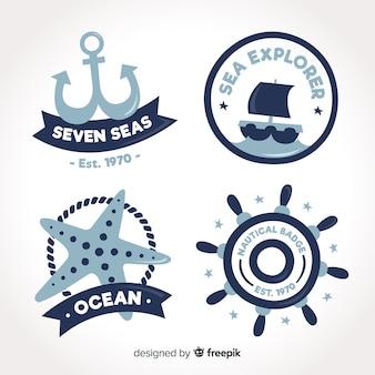 Collezione di badge nautici disegnati a mano