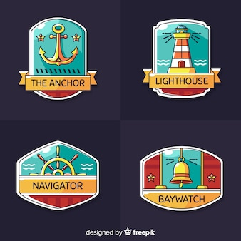 Hand drawn nautical badge collection
