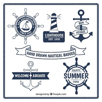 Hand drawn nautical badges