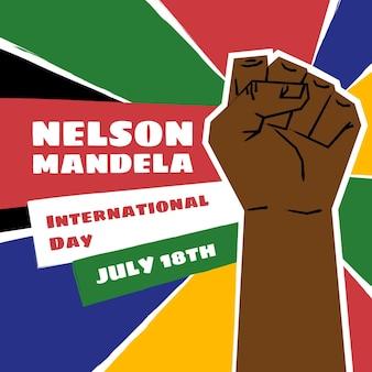 Illustrazione disegnata a mano di nelson mandela international day