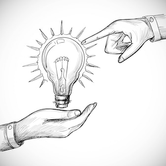 Hand drawn new idea innovation and solution concepts light bulb