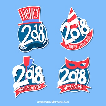 Hand drawn new year 2018 badge collection in blue