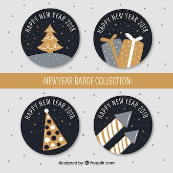 Hand drawn new year 2018 badge collection in golden and silver